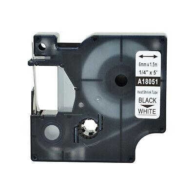 Black On White 18051 For Dymo Rhino 5200 Heat Shrink Tube Label Tape 6mm