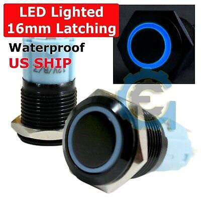 16mm Blue Angel Eye Led Light 12v Latching Push Button Power Switch Waterproof
