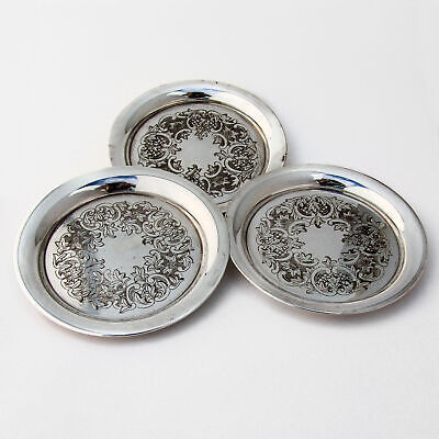 Japanese Bright Cut Engraved Coasters Set 950 Sterling Silver