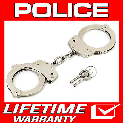 Police Handcuffs Professional Double Lock Heavy Duty Metal Steel Silver