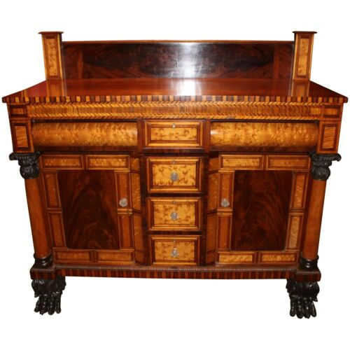 Exceptional American Empire Sideboard or Server with Superb Inlay