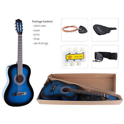 "38"" Lagrima  Acoustic Guitar W/Guitar Pick,Case,Strap,Tuner,Steel Strings Blue"