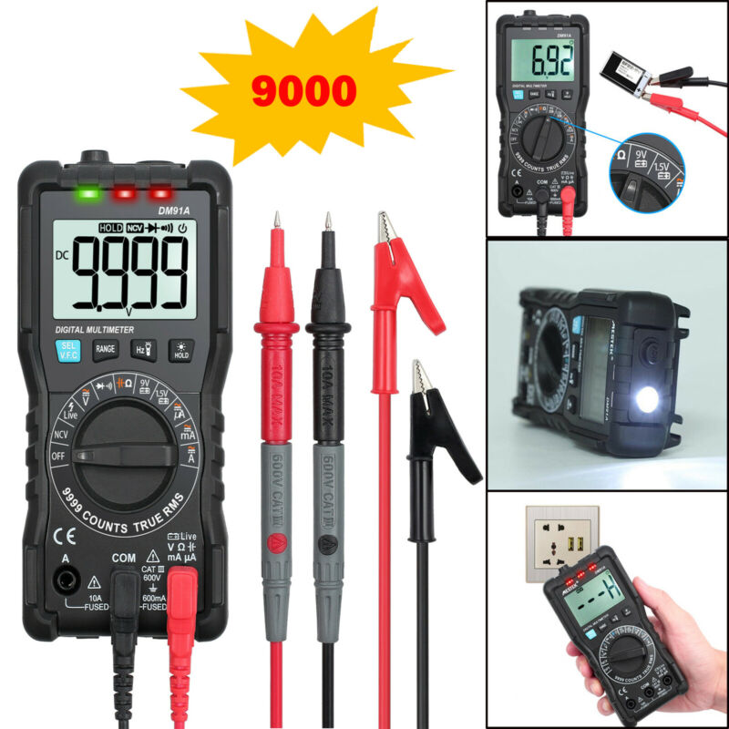9999 Counts TRMS Digital Multimeter NCV Detector Teater Auto Range+Backlight