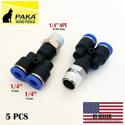 5x Pneumatic Y Splitter 14 Npt To 14 Hose Od Air Push Quick Connect Fitting
