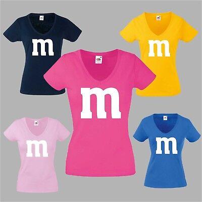 Gruppenkostüm für M&M Fan Lady V Ausschnitt Damen T- Shirt Fasching Karneval -