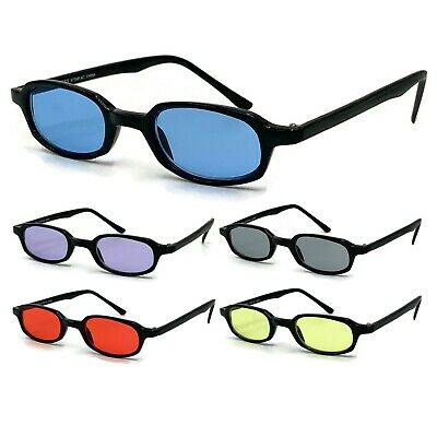 Colorful Small Black Rectangle Nerd Glasses Color Tinted Lens Sunglasses (Color Tinted Sunglasses)