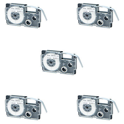 5pk Compatible With Casio Xr-9we Black On White Label Tape For Ez Kl-60 9mm 38