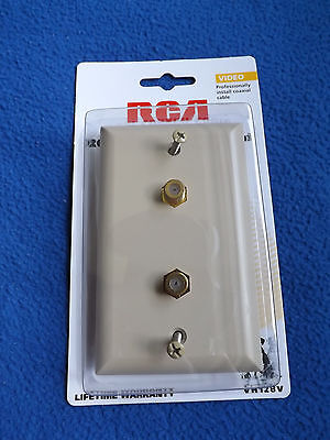 RCA VH128V Dual Coaxial Cable RG6 / RG59 Wall Plate Ivory Ivory Rg59 Wall Plate