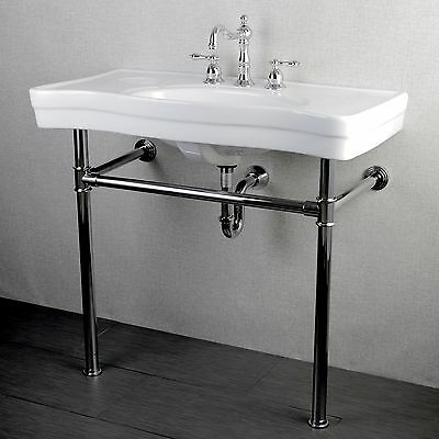Wall Mount Sink Legs : ... Vintage 36-inch Wall-mount Chrome Pedestal Bathroom Sink Vanity eBay
