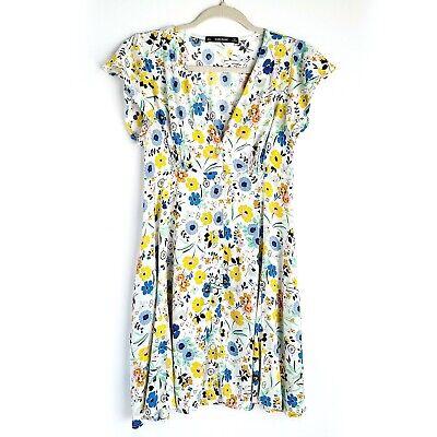 Zara Basic Floral Summer Dress Womens S Button Front Multicolor Short Sleeve