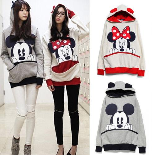 Mickey Minnie Mouse Kapuzenpullover Damen Langarm Sweatshirt Jumper Hooded Pulli