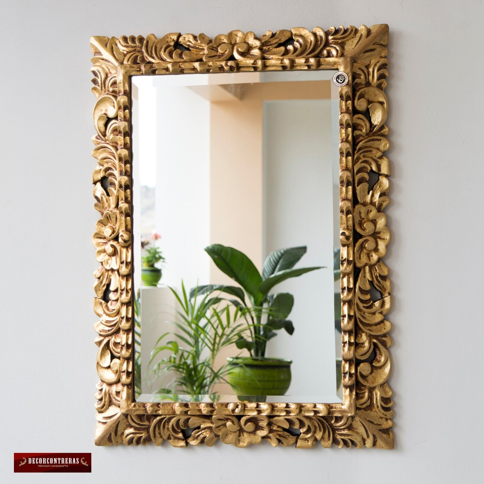 Vintage Gold Tone Hand carved Wood Frame Ornate Mirror for w