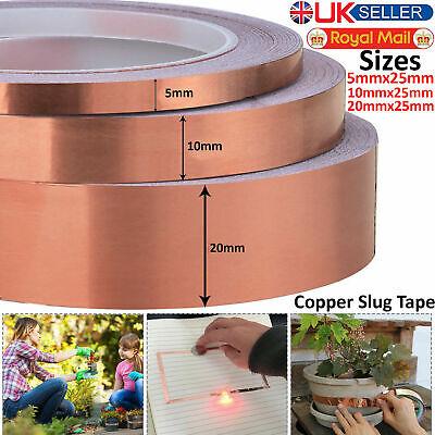 5mm 10mm 20mm x 25m Copper Slug Tape Adhesive Copper Slug Snail Barrier Tape