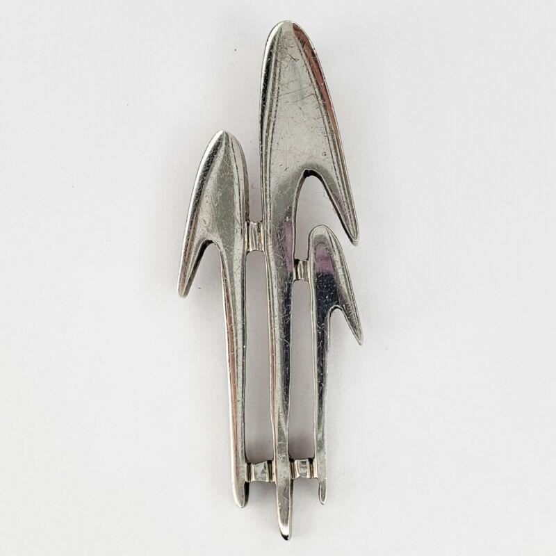 Vintage Sterling Silver 925 Signed Mid Century Modern Design Pendant Signed