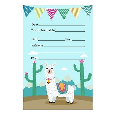 30 invitations cards unisex girl boy kids birthday party llama alpaca fill in ()