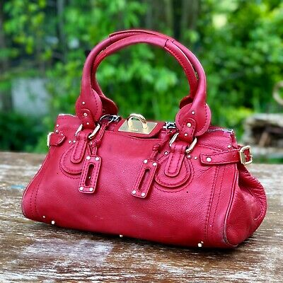 Chloe Paddington Shoulder Bag Satchel Handbag Purse ~ Leather Red - Chloe Paddington Satchel Bag