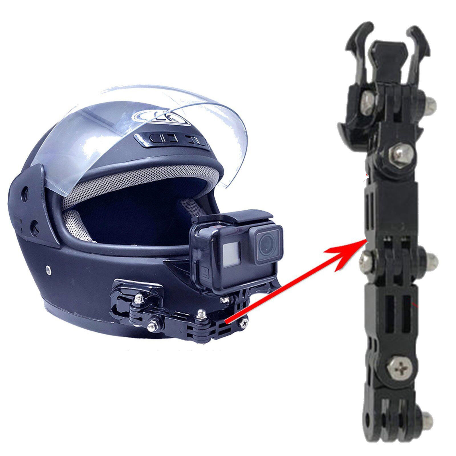 GoPro and Other Cameras Sincecam Front Helmet Face Mount Set for SC128Pro Action Camera Includes Curved Surface Mount Face Shot Mount and Long//Short Angle Attachment Extension