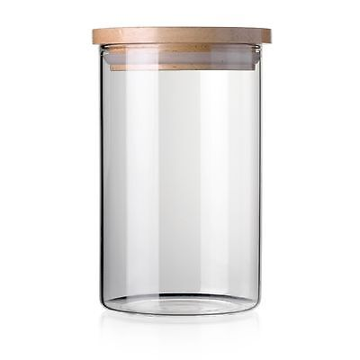 STACK UP Safe Clear Borosilicate Glass Jar with Wooden Lid - Canister for Food (Lid Food Safe)