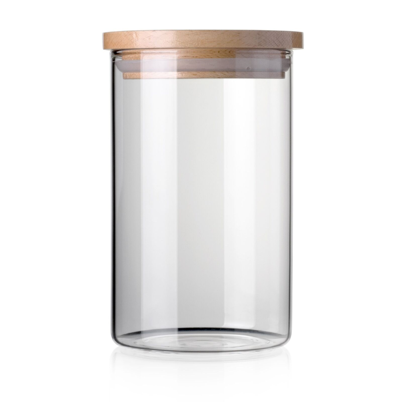 safe clear borosilicate glass jar with wooden