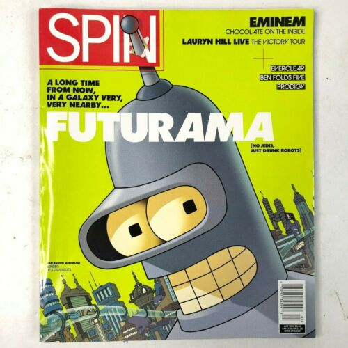 Spin Vintage Music Magazine Futurama Bender Cover May 1999 Eminem Groening New