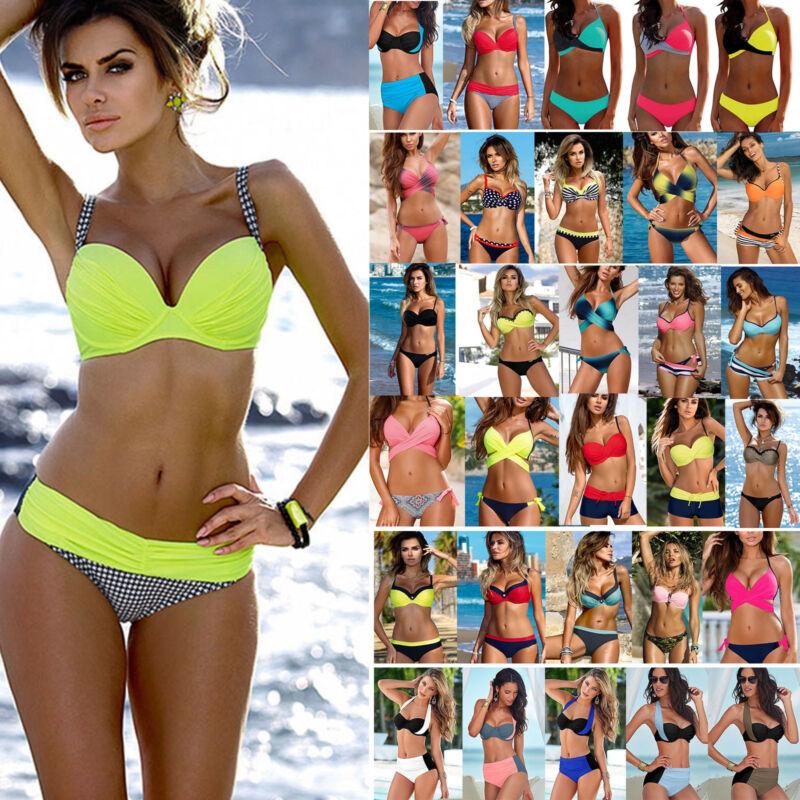 Damen Push up Bikini Set Schwimmanzug Gepolstert BH Zweiteiligen Badebekleidung