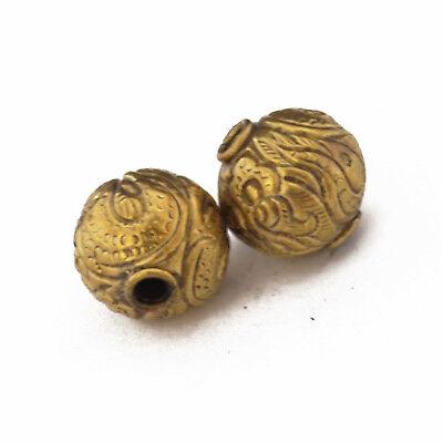 Repousse Solid Brass 2 Beads Tibetan Nepalese Handmade Tibet Nepal UB2562