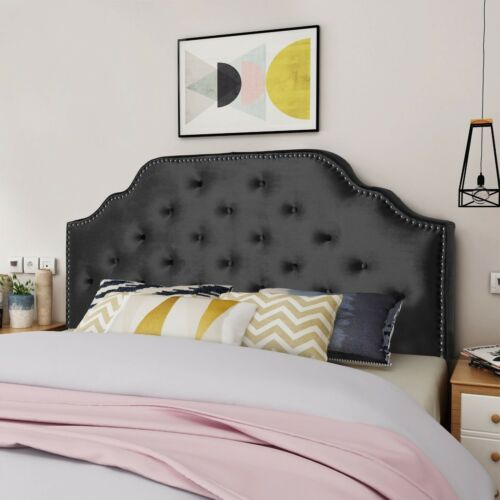 Falcon Contemporary Tufted New Velvet Queen/Full Headboard w/ Nailhead Accents Beds & Mattresses