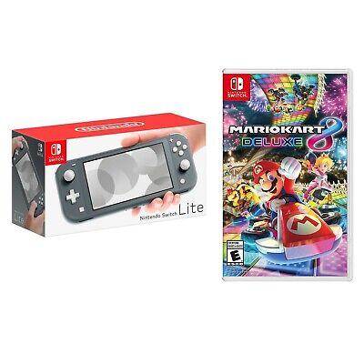 NEW Nintendo Switch Lite Handheld Console + FREE GAME Mario Kart 8 Deluxe - Gray