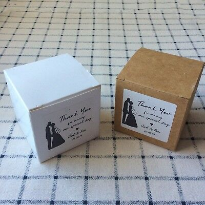 personalized wedding favor boxes Kraft white cube box stickers Macaron cake Box - Personalized Cake Boxes