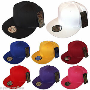 NEW-PLAIN-SNAPBACK-CAP-BLACK-BASEBALL-HIP-HOP-ERA-RETRO-FITTED-FLAT-PEAK-HAT