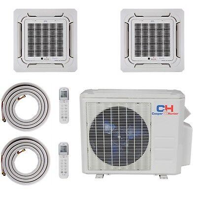 Dual 2 Zone Ceiling Cassette Mini Split Air Conditioner Heat Pump 12K 18K Multi, used for sale  USA