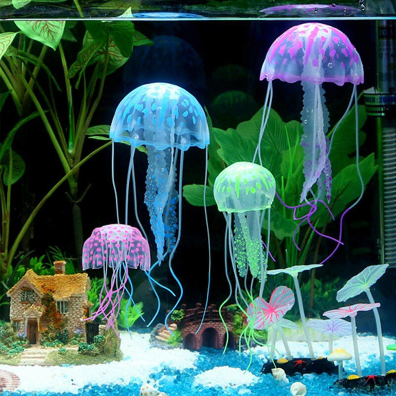 4PCS Glowing Effect Artificial Jellyfish Aquarium Decoration Fish Tank Ornament