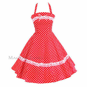 50s 60s Vintage Polka Dot Swing Jive Rockabilly Dress