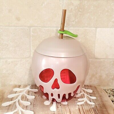 Halloween Stores In (Disney Store Halloween 2018 Red Poison Apple Cup Straw Glows in the Dark -)