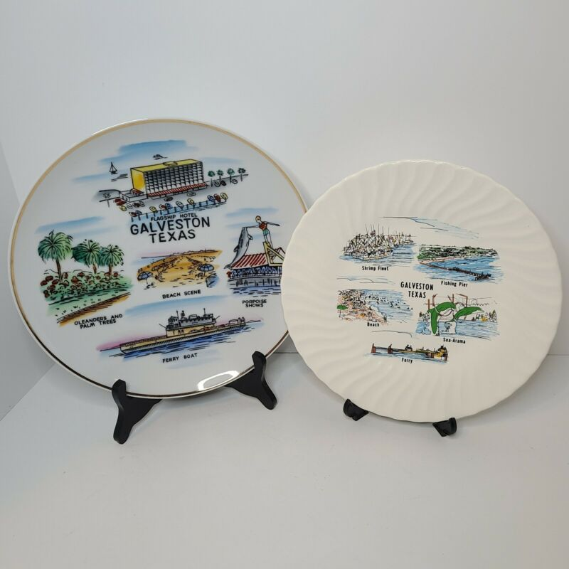 Vintage Galveston Island Texas Souvenir Plates Flagship Hotel Sea-Arama Decor