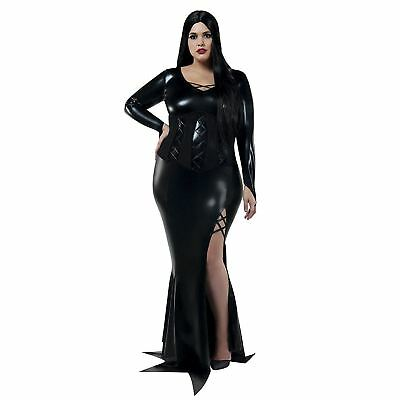 Womens Gothic Morticia Addams Halloween Costume Black Dress Plus Size 1X-5X - Plus Halloween Costume