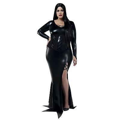 Womens Gothic Morticia Addams Halloween Costume Black Dress Plus Size 1X-5X (Womens Gothic Halloween Costumes)