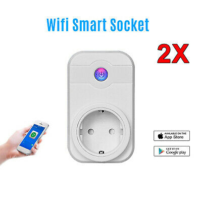 2X Wifi Smart Steckdose mit Fernbedienung Home Socket Zeitschaltuh EU Socket