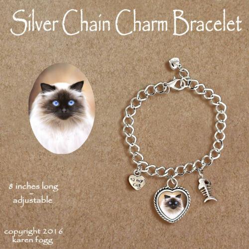 HIMALAYAN CAT - CHARM BRACELET SILVER CHAIN & HEART