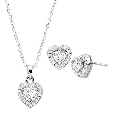 Heart Stud Earrings & Pendant Set with Cubic Zirconia in Rhodium Over Silver
