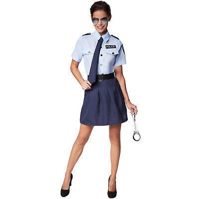 Frauenkostüm Polizistin Halloween Kostüm Karneval Fasching Damen Politesse ()