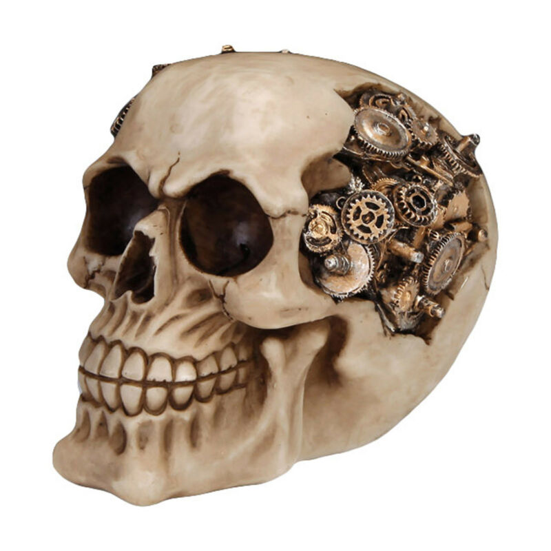 Steampunk Skull of Cogs Halloween Table Decor Halloween Wasteland Mechanical
