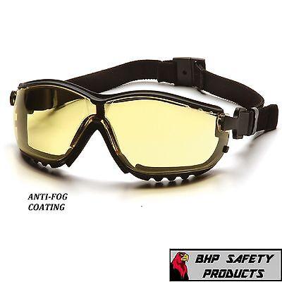 Pyramex V2g Safety Glasses Goggle Hybrid Amber Anti-fog Shooting Lens Gb1830st