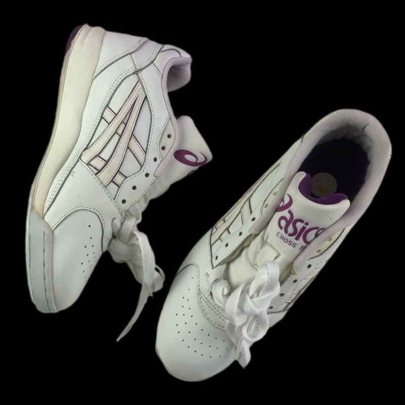 Vtg 80s 90s Asics Gel Cross Plus Running Sneakers Womens 8 US Retro White