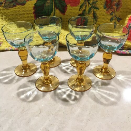 "Darling 3"" Tiny Depression Glass Aqua Gold Wine/Goblets"