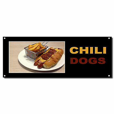 Chili Dogs Food And Drink Vinyl Banner Sign W Grommets 2 Ft X 4 Ft