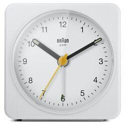 Braun BN-BC03W Large White Square Quartz Alarm Classic Travel Clock