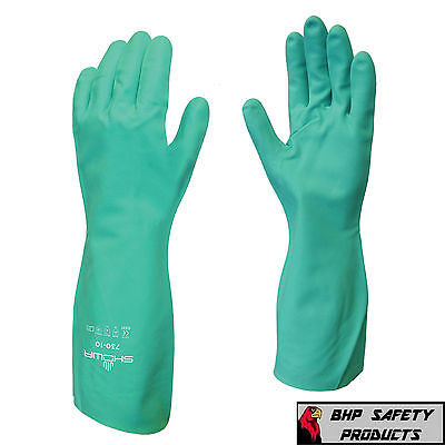 CHEMICAL RESISTANT GLOVES NITRI-SOLVE SHOWA/BEST MFG 730 SIZE LARGE CLEANING