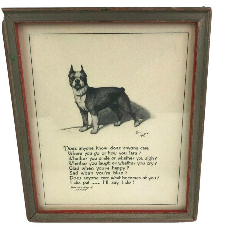 Vintage 1937 Buzza Motto Print Boston Terrier Dog Friendship Caring Cecil Laldin