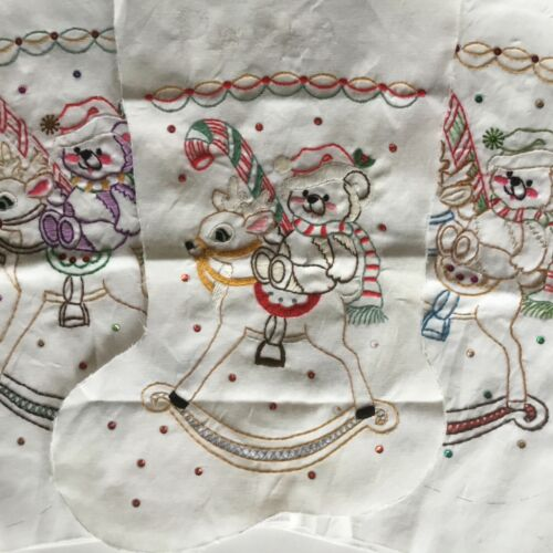 3 Christmas Stockings Embroidery Sequins Bears Reindeer Partially Complete Vtg
